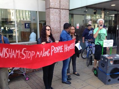 Protesting against Lewisham Council's housing policy