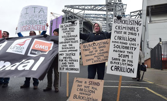 Carillion blacklisted 800 of its unionised employees for calling them out on poor health and safety condition 3