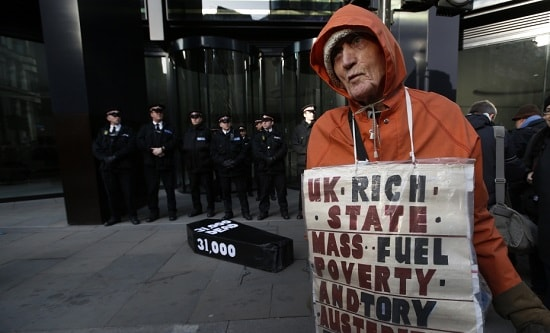 A man protests against high fuel prices