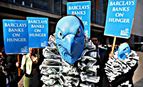 Demonstration outside serial offender Barclays Bank AGM