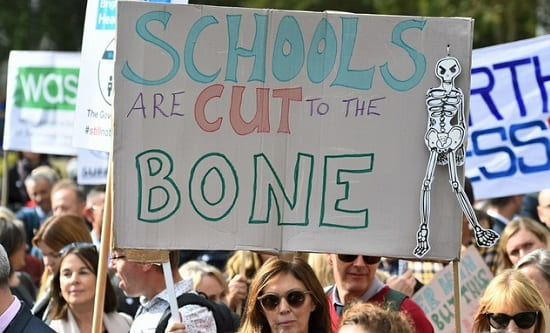On 28 September an estimated 2,000 headteachers marched to Downing Street to protest against budget cuts