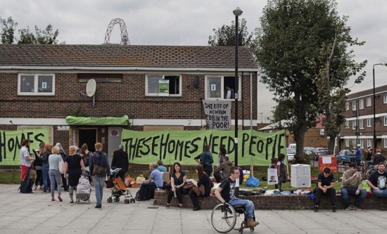 Focus E15 activists occupy the Carpenters Estate, Newham in 2015