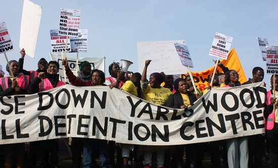 Movement For Justice protest outside Yarl's Wood immigration prison