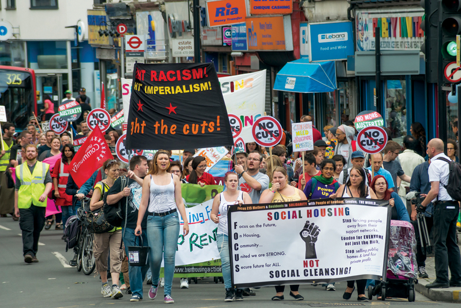 Focus E15 supporter on the march through Newham on 5 July © 2014 Peter Marshall