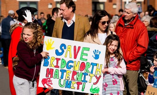 Protest against the closure of Bridgenorth Maternity Unit