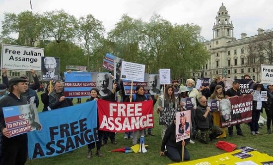 Protest in Parliament Square, London, in April in defence of Julian Assange