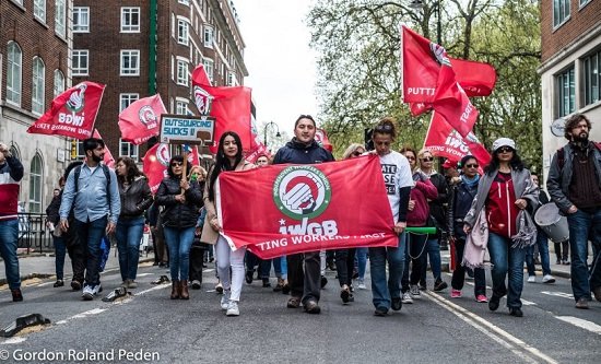 IWGB unionists march in London