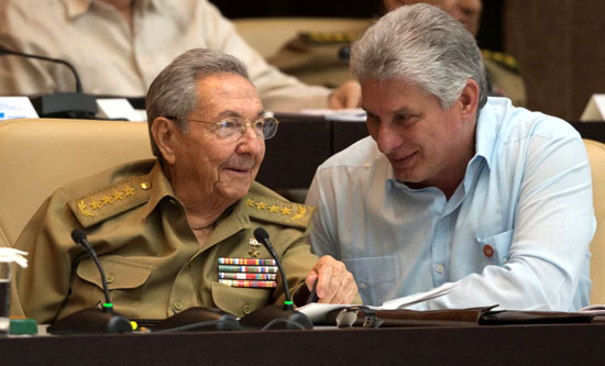 President Raul Castro (left) and First Vice President Miguel Diaz Canel (right)