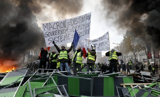 Protestors at the Champs Elysee, Paris 24 November 2018
