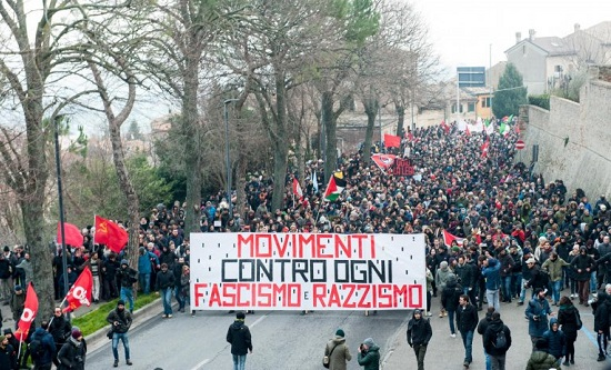 Anti-fascist and anti-racist protestors in Italy