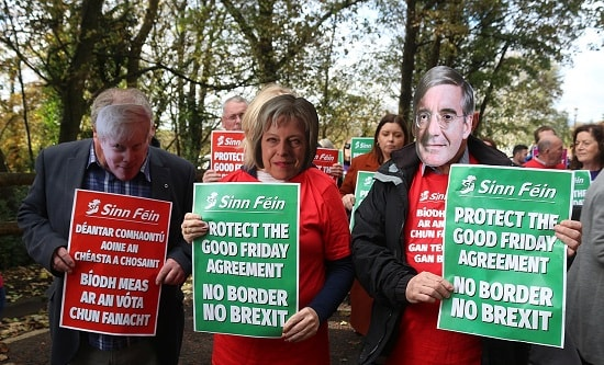 Anti-Brexit protest by Sinn Fein supporters