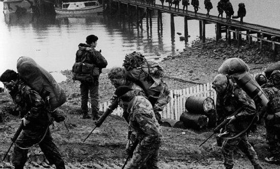 British troops land in the Falkland Islands
