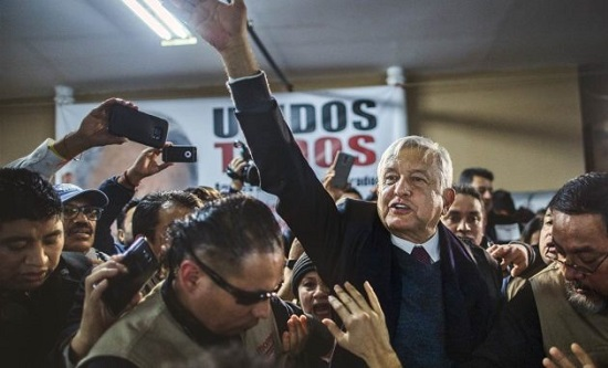 Andrés Manuel López Obrador celebrates his election victory