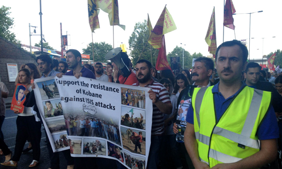 Protest in London after the murder of 32 young Kurdish and Turkish socialist by IS