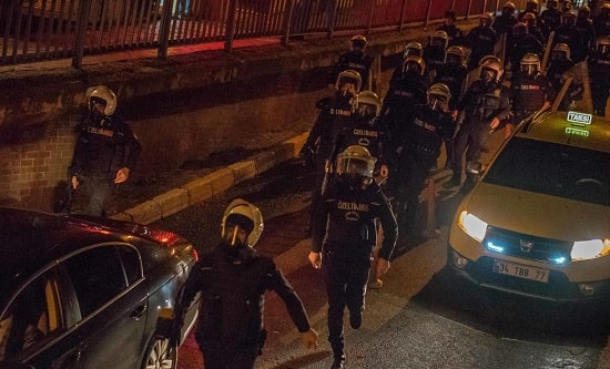 Turkish police mobilise in Istanbul in 2015 as thousands protest over the death of Tahir Elçi
