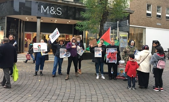 Nottingham RCG and supporters protest outside M&S