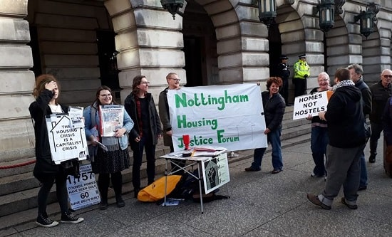 NHJF members protest outside Nottingham City Council