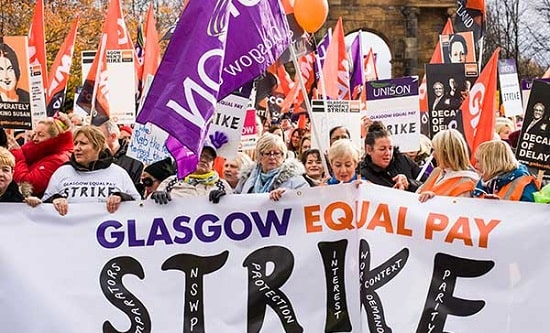 Low-paid women workers on strike in Glasgow in October