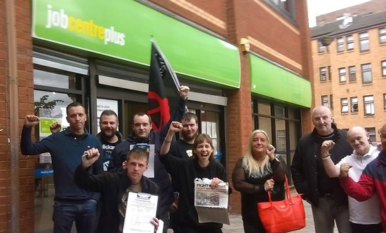 Govan jobcentre budget protest 8 July