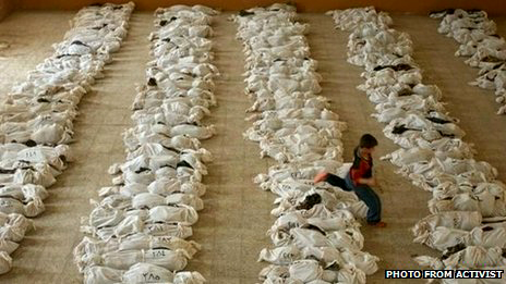 This photo, used by the BBC in connection with the Houla massacre, was revealed by the photographer Marco Di Lauro, to actually depict the skeletons of Kurds killed in Al Musayyib, Iraq, in 2003. The BBC credited the picture as from 'activists'.
